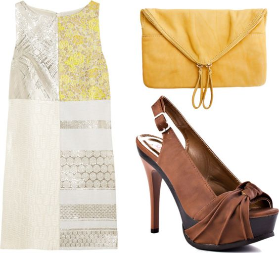 Cute patchwork shift dress with brown slingback platforms and yellow clutch.