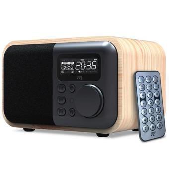 Enceinte Bluetooth fonction radio-reveil design Bois naturel - Woodbox