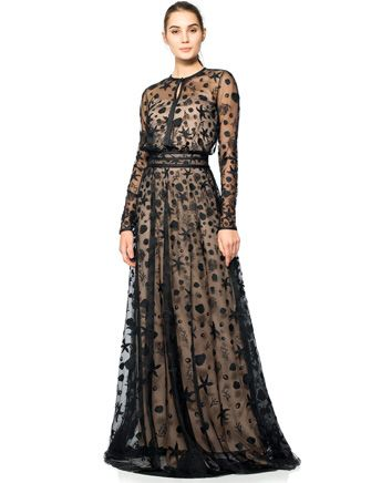 Tadashi Shoji Formal Starfish Embroidered Tulle Long Sleeve Gown