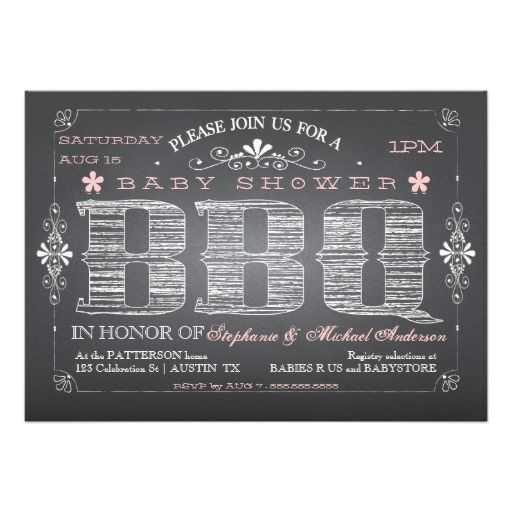 Vintage Chalkboard Pink Baby Shower BBQ Invitation