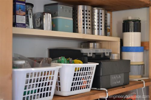 Shelving shelves and spaces on pinterest for Additional shelves for kitchen cabinets