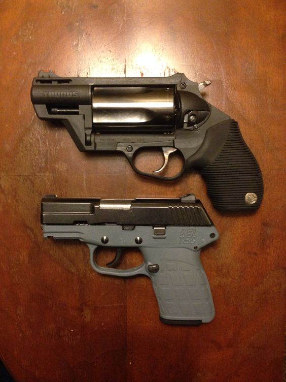 Taurus Judge Public Defender Poly in .45 Colt/.410 gauge, and the Kel-Tec PF-9 in 9x19