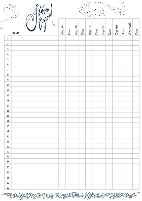 Starry Eyed Attendance Sheet