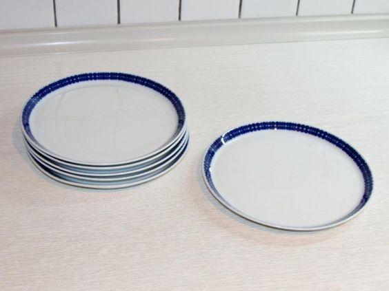 Retro - Geschirr Hutschenreuther Novum 65 (blaue Punkte) - Top! Ebay Kleinanzeigen