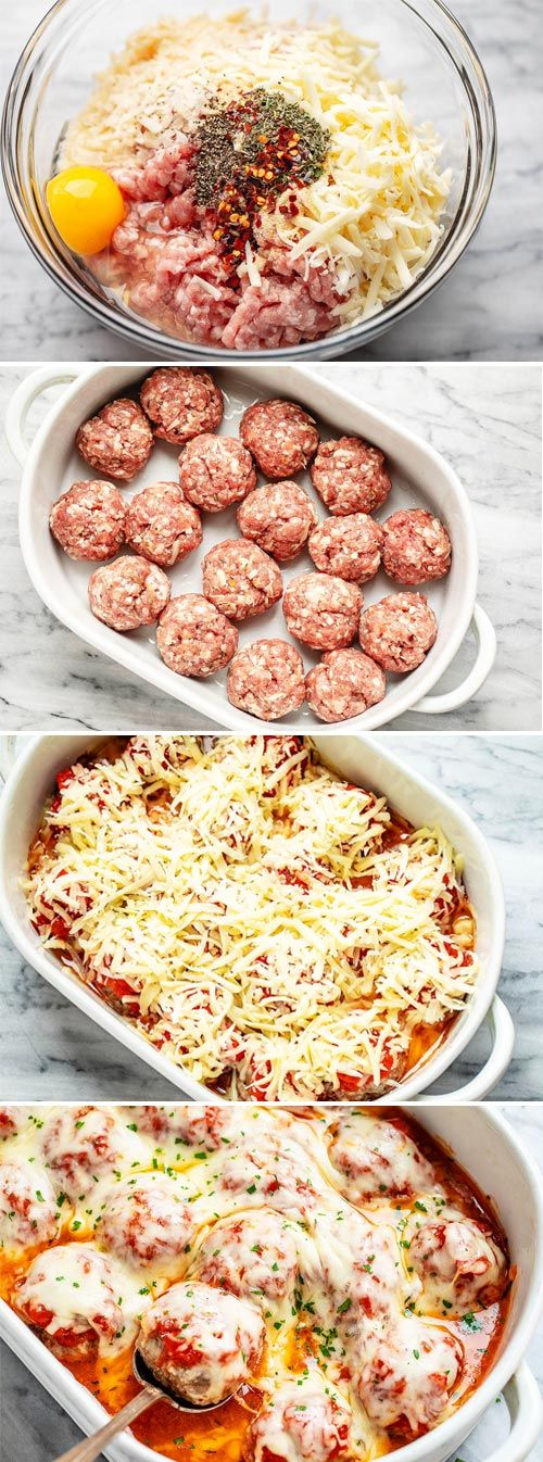 Cheesy Meatballs Casserole {Low Carb} - #lowcarb #meatballs #recipe #eatwell101 - Looking for a great low carb dinner option? This low carb turkey meatball casserole recipe is absolutely fabulous. - #recipe by #eatwell101