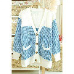 Elegant V-Neck Color Block Poket Embellished Cardigan Design Long Sleeve Loose Fit Sweater For Women