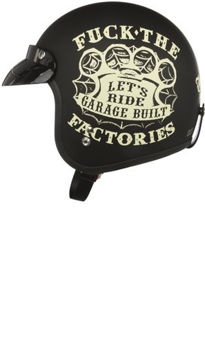 "FELON GARAGE BUILT HELMET    Price:	$114.00    Get some new gear from Felon! This matte black motorcycle helmet features Felon's ""F*** the Factories"" brass knuckle artwork on each side, Felon logo on back- all printed in off white. DOT approved!"