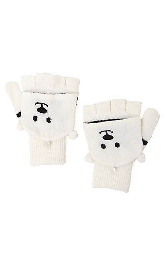 With Love From CA Polar Bear Flip Top Gloves - Womens Scarves - White - One from PacSun