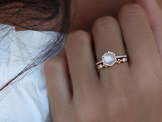 14kt gold and diamond moonstone hex ring – Luna Skye