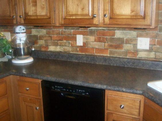 Faux brick wallpaper kitchen backsplash beautiful and tops for Brick wallpaper ideas for kitchen