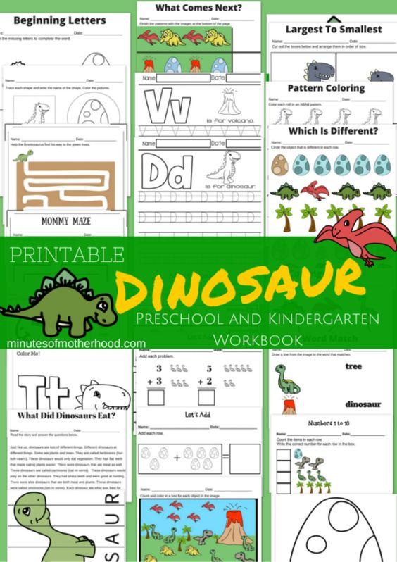 20+ Page Dinosaur Themed Free Printable Preschool and Kindergarten ...