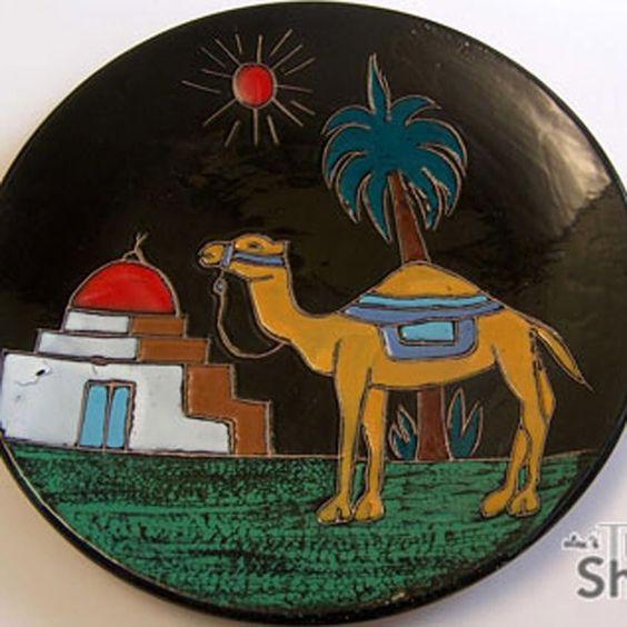 KAMEL | WANDTELLER Teller Wandbild Keramik Teller 32cm | Wall plate pottery
