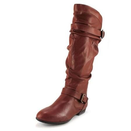 Rampage Basking Womens Brown Faux Leather Fashion Knee-High Boots - Walmart.com (super cute!!!)