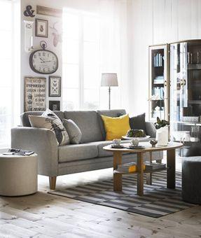 Inredning soffor mio : Eden 3-sits soffa i tyg Dyna light grey från Mio. | Vardagsrum ...