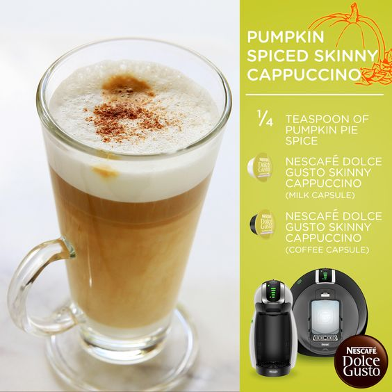 Dolce Gusto Pumpkin Spiced Skinny Cappuccino – Pure indulgence at 50 calories! Make this beverage and many others with the Nescafe Dolce Gusto Circolo by DeLonghi, which is a single-serve system that makes authentic, gourmet-quality drinks.
