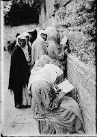 "Devout Jewish women at the   Wailing Wall"" (circa 1900)"