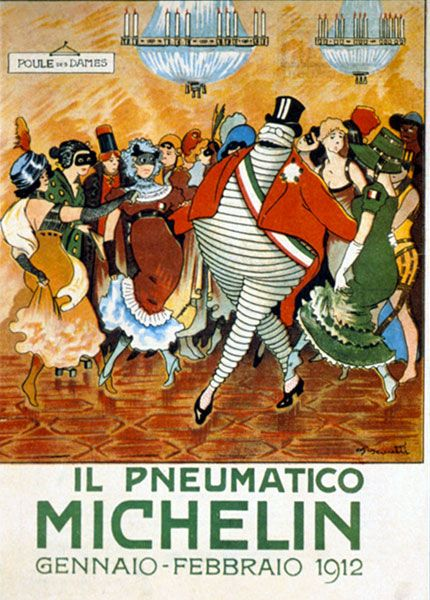 Agenzia dei Italia Pneumatici Michelin's January/February 1912 edition. From 1907 to 1915, the Agenzia dei Italia Pneumatici Michelin published a monthly review sent to its customers by post. Particular care was taken with the cover illustrations, which naturally involved the Michelin Man. The Italians turned the character into even more of a hero than he was in France. On this cover the Michelin Man is a sort of diplomat idolised by women.: