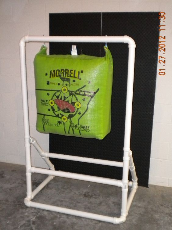 Target stand for and archery targets on pinterest for Bow made out of pvc pipe