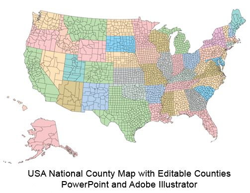 USA National County Map Broken Down By States There Are Over - Us map illustrator