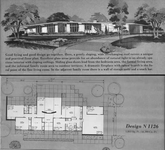 Atomic Ranch House Plans Home Planners Design N1126 A