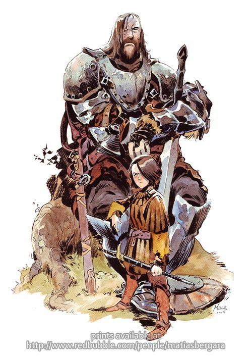 Arya & the Hound -by Matias Bergara 2014PRINTS AVAILABLE HERE