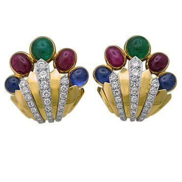 David Webb Diamond Ruby Emerald Sapphire 18k Gold Platinum Earrings