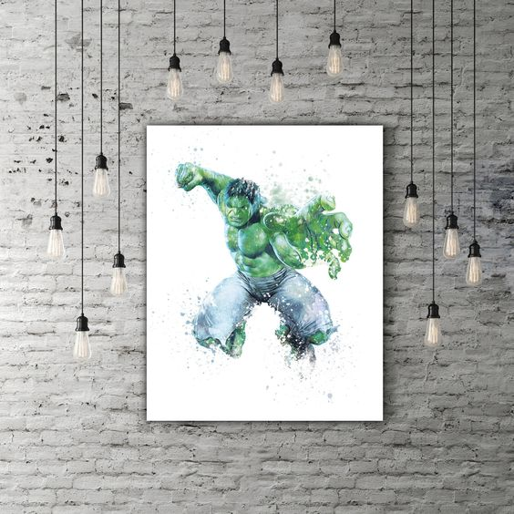 Incredible Hulk Smash Superhero Print, Marvel Comics Avengers Decor, Movie Art, Green Watercolor Nursery Art Boy Room Decoration Marvel Gift by PRINTANDPROUD on Etsy