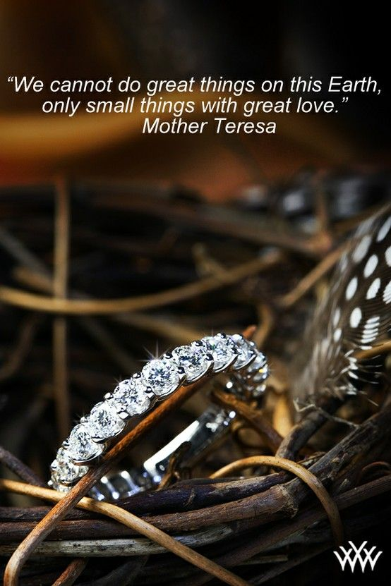 """We cannot do great things on this Earth, only small things with great love."" - Mother Teresa"