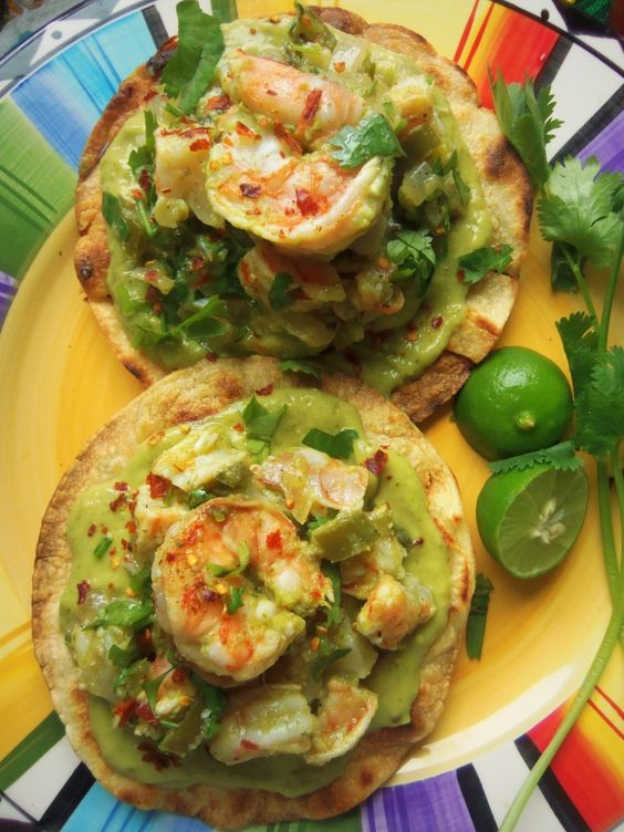 Grilled Shrimp Tostadas with a Creamy Tomatillo Avocado Salsa - Hispanic Kitchen