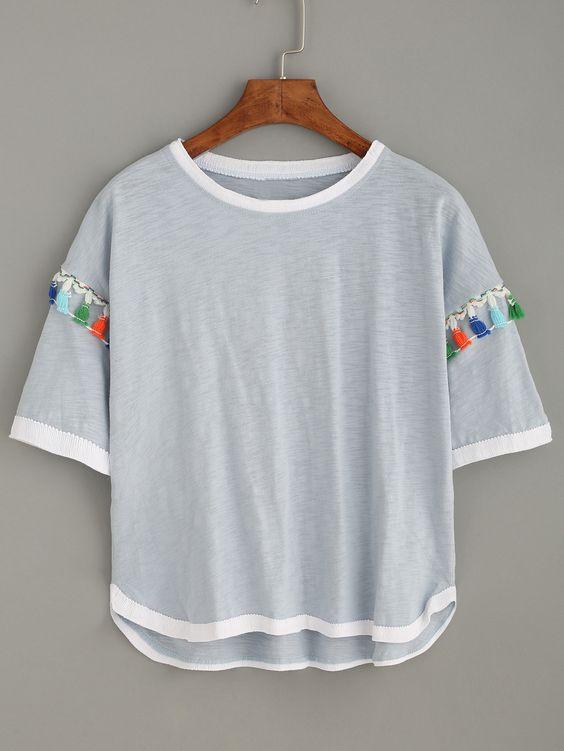 Shop Grey Contrast Trim T-shirt With Tassel Detail online. SheIn offers Grey Contrast Trim T-shirt With Tassel Detail & more to fit your fashionable needs.