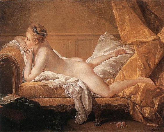 """Boucher. L'Odalisque blonde, 1751- l s'agit de Marie-Louise O'Murphy ou Morfi (1737-1814), fille d'un savetier irlandais qui devint la maîtresse de Louis XV en 1752, à l'âge de 14 ans, par l'intermédiaire de la marquise de Pompadour. Elle était hébergée au Parc-aux-Cerfs, pavillon où Louis XV logeait  très confortablement ses """"petites maîtresses"""", c'est à dire celles qui n'étaient pas présentées à la Cour."""