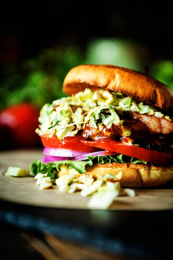 Bison Burger with Maple Brussels Sprouts Slaw for #BurgerMonth from @GirlCarnivore!