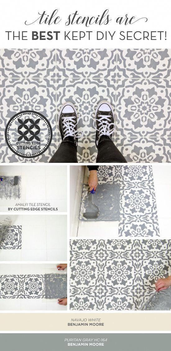 Kitchenflooring Tile Stencil Painting Ceramic Tile Floor Stenciled Floor