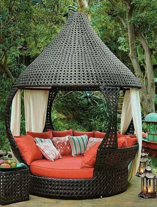 patio outdoor unusual patio furniture wicker canopy daybed round terra cotta mattress decorative throw pillow rattan outdoor furniture square brown glass - Stone Slab Canopy Decoration