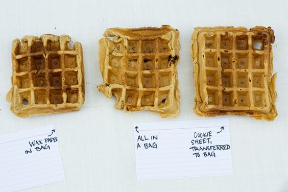 Freezing Waffles 101- freeze on cookie sheet, transfer to 1 bag.