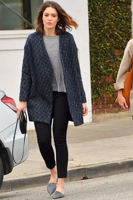 Mandy Moore Just Wore Your Dream Saturday-Morning-Brunch Outfit  #refinery29  http://www.refinery29.com/2015/03/83761/mandy-moore-ruffle-top-outfit#slide-1  Mandy Moore was photographed in Los Angeles in a textured statement coat, black jeans, and snakeskin mules that you desperately need this season.