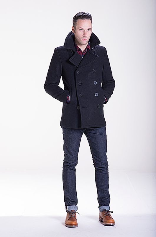Collection Slim Fit Pea Coat Men Pictures - Reikian