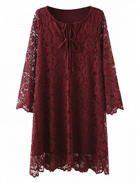Shop Burgundy V-neck Tie Up Front 3/4 Sleeve Lace Dress from choies.com .Free shipping Worldwide.$28.99