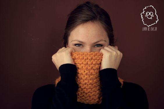 punto bobo, lana gorda, mostaza. Buf/bufanda