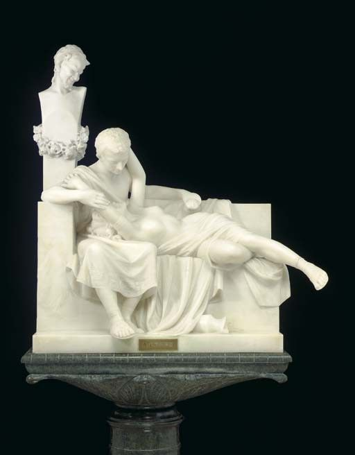 An Italian white marble group of lovers entitled 'A pompei',