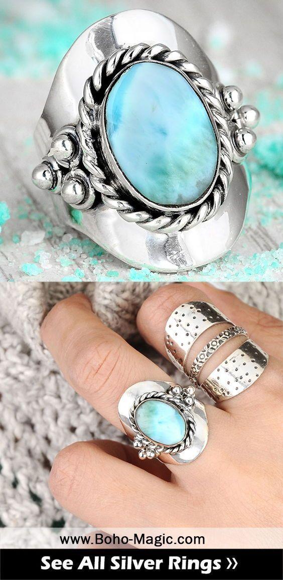 Larimar Ring Boho Rings Sterling Silver Ring Women Wanderlust Bohemian Jewelry Cuff Ring Statement Rings Un Unique Silver Rings Handmade Rings Boho Rings