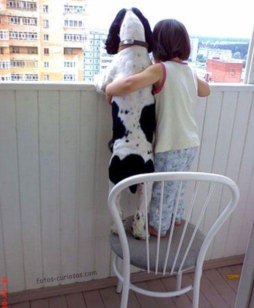 Viendo juntos por el balcón