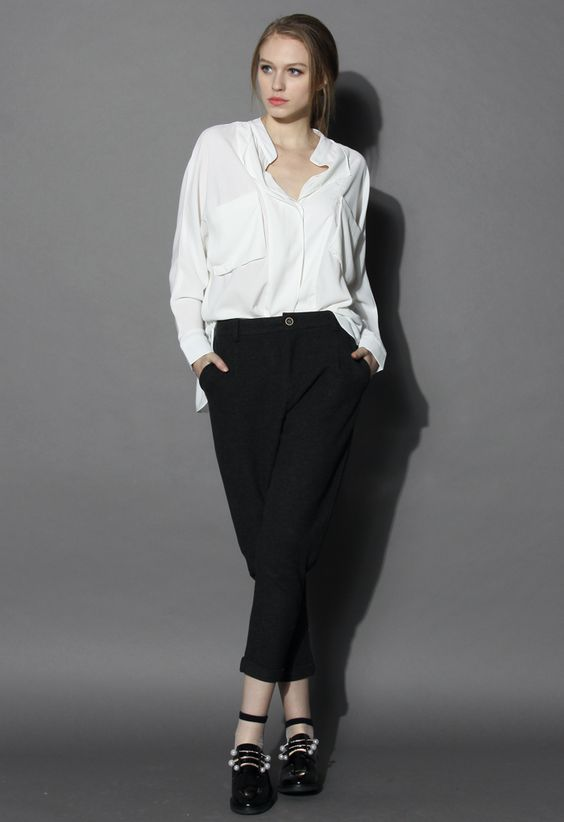 Neutral Batwing Crepe Shirt in White - Shirt - Tops - Retro, Indie and Unique Fashion