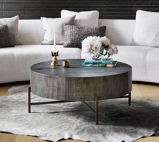 Fargo Round Coffee Table Distressed Gray Patina Copper Coffee