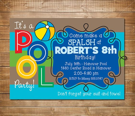 Pool Birthday Party Invitation Boys Swimming Party Water Party Swimming Pool Indoor Pool