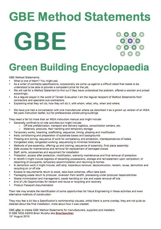 GBE Method Statements G#12677 GBE Green Building Encyclopaedia - method of statement