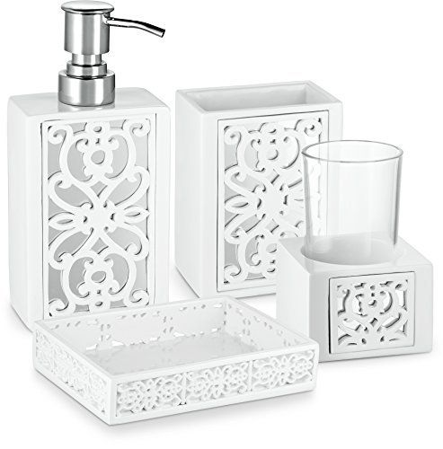 Cakie Whitewqer Fashion Forward Bath Accessory The Mirror Janette Collection Sports For A Bathroom Accessories Sets Bathroom Accessories Soap Pump Dispenser