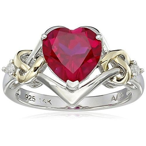 Sterling Silver and 14k Yellow Gold Diamond and Heart-Shaped Created Ruby Ring . Available at http://www.Brandinia.com
