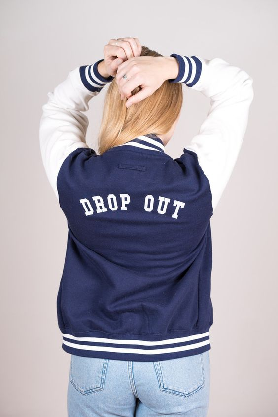 DROP OUT embroidered varsity/ lettermans jacket