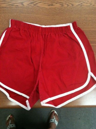 VINTAGE Gym Shorts-sz L-70's/80's Awesome Pair-Dark Red-wh Stripe ...